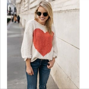 Lou and Grey Knitted Heart Front Sweater Top Large